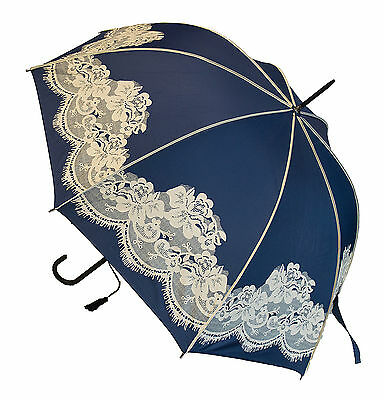 Blooming Brollies Boutique Vintage Lace Stick Umbrella - Navy