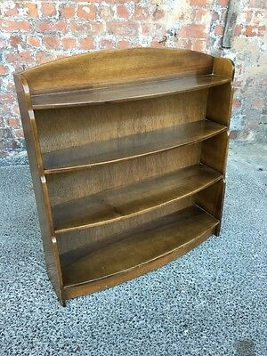 Shaped Mahogany Effect Vintage Mid-Century Bookcase - Open Shelves / Bookshelf