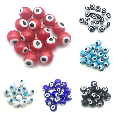 Lot 100pcs/6mm Handmade Colorful Glass Evil Eye Protection Baroque Shaped Beads