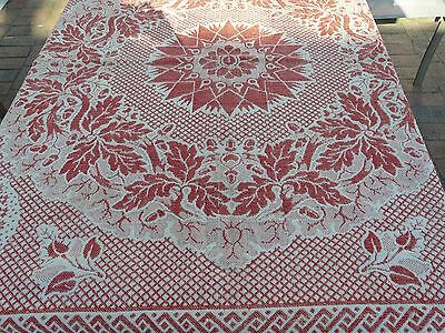 Vintage ANTIQUE Southern  floral patriotic Eagles HAND LOOMED square COVERLET