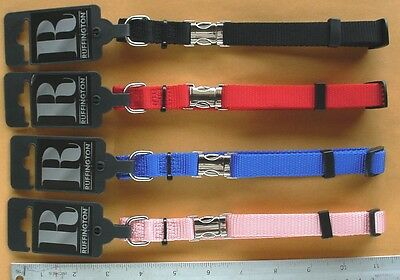"""BLUE Nylon Dog Collar with Metal Quick Release Fastner, Buffington Size 11""""~19"""""""