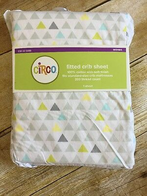 Circo Fitted Crib Sheet Triangles Cotton gray yellow green new #6490 White Mint