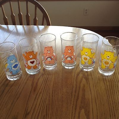 6 Pizza Hut Care Bear Glasses Tenderheart, Grumpy, 2 Cheer and 2 Funshine