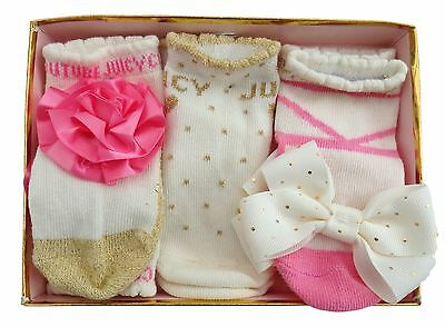 JUICY COUTURE baby girl fancy 3 prs SOCKS in GIFT BOX 0/6M glitter bow rose BNWT