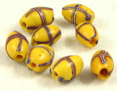 8 Old Venetian Glass Wound Yellow FRENCH CROSS Trade Beads