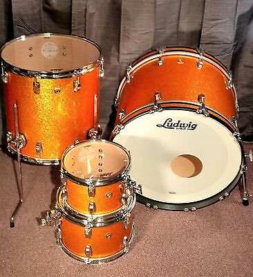Ludwig Classic Maple 2017 Gold Sparkle Drum Set 4PC Shell Pack. Mint & Unplayed!