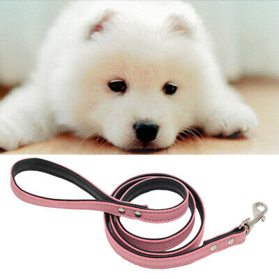 120cm Strong Flocking Leather Dog Pet Lead Leash with Clip for Collar Harness
