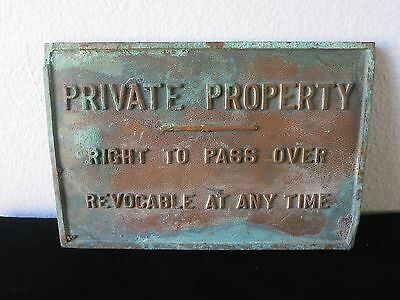 Antique Cast Iron Railroad PRIVATE PROPERTY Right to Pass Over Revocable Sign