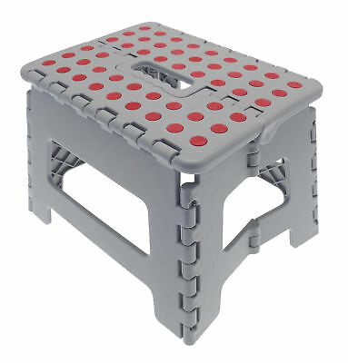 Country Club Folding Step Stool Hop Up Grey Kitchen Multi Purpose Sturdy Garage