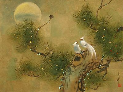 """White birds pine sun- watercolour painting on cork faced paper 24""""x18"""" CA003"""