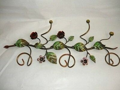 Hanger Clothes Hook Wrought Iron With Rose Leaves