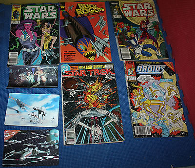 Lot of 5 Star Wars, Buck Rogers and Star Trek Comics and 3 Star Wars 3-D Cards