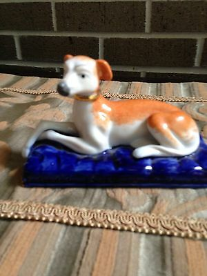 Tan & White Hand painted Greyhound on a blue pillow $49.90