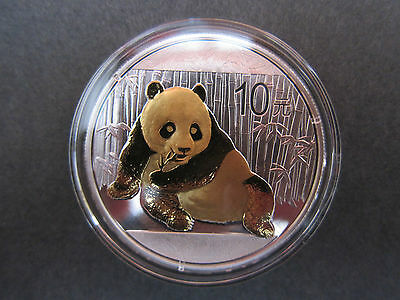 2015 China Panda 1 Oz fine silver gilded gold plated coin