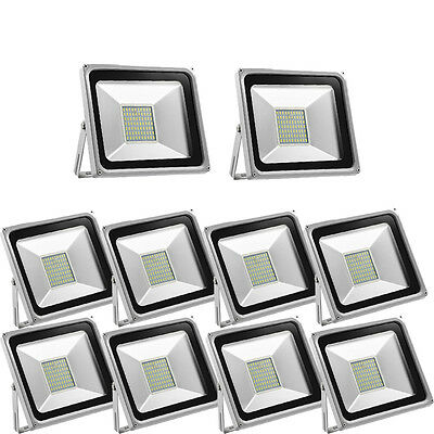 10X 50W  LED Floodlight SMD Outdoor Security Garden Lights Cool White  Lamp 220V