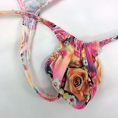 K403 P String Thong Grape Smugglers Contoured Pouch Pink Floral Printed Jersey