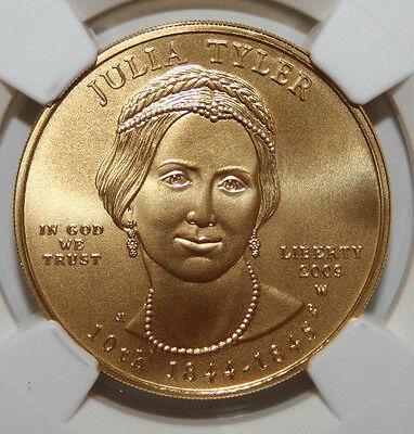 2009 W $10 Gold First Spouse Series Julia Tyler  Ngc Ms70  #010
