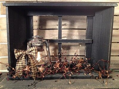 Country Primitive Window Shelf With Lantern And Berries Farmhouse Decor