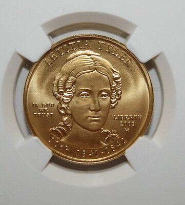 2009 W $10 Gold First Spouse Series Letitia Tyler  Ngc Ms70  #012