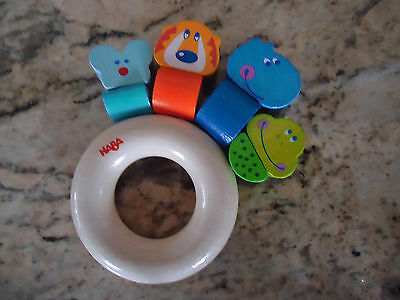 Haba Wooden Wood Animal  Ring Clutching Baby Toy mint