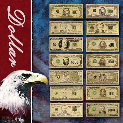 WR 14pcs Full Colored US Dollar Collection Set $1-$1 Billion Gold Foil Banknotes