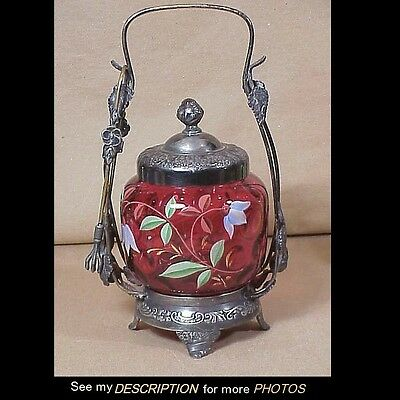Vict Pairpoint Silver Plate Pickle Castor Cranberry Thumbprint Enameled Floral