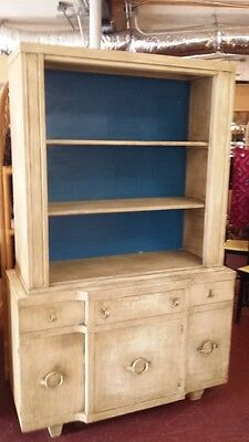 Vintage Shabby Chic Painted Tall Wood Hutch Cabinet