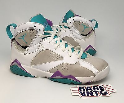 2011 Nike Air Jordan VII 7 Retro Neutral Grey Mineral Blue Violet Size 6.5Y