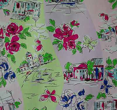 vintage 1980s fifties style floral & pictoral cotton dress fabric piece