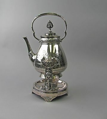 Rogers Smith & Co Silver Coffee Pot/Tea Kettle on Stand Silverplate Aesthetic