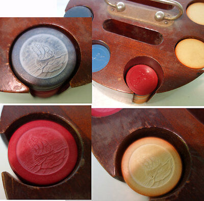 Antique POKER CHIPS SET: 173 Clay Composite, 24 others Gambling Vintage