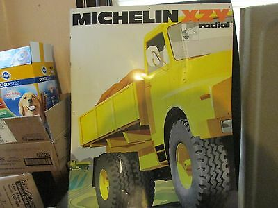 Old vintage Michelin Tire Sign board from France  1960s 70s metal XZY truck tire