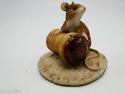 1987 English A Bill HSC Mouse and Champagne Cork Figure  Holland Studio Craft
