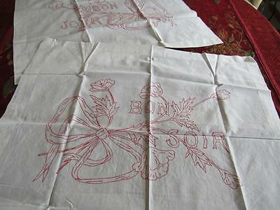 """PAIR French Antique Vtg 1900s Turkey REDWORK Embroidered Pillow Layovers 24x29"""""""