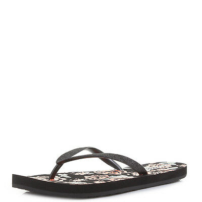 3d57fa9e60f REEF NEW WOMENS Black Stargazer Prints Flip Flops Black Tropic BNWT ...