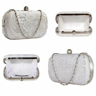 Ivory White Lace Wedding Prom Party Bridal Clutch Purse Bag Handbag New