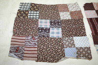 LOT/3 Primitive Civil War Era Quilt Blocks Cotton Madder Brown, Double Pink #15