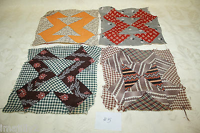 "LOT/4 Primitive Civil War Era Quilt Blocks Hand Pieced ""Old Gray Goose"" #5"
