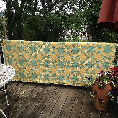 Vintage Green And Yellow Star Quilt Top