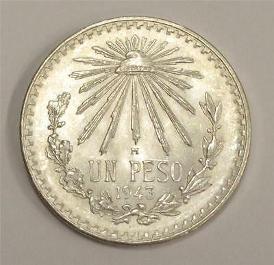 1943 Mexico 1 Peso Silver coin Choice Brilliant Uncirculated MS63
