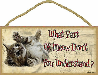What Part Of Meow Don't You Understand Rolling Tabby Kitten Cat Funny Wood Sign