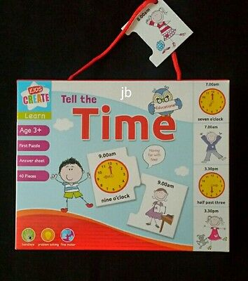 Children's Learning Puzzle To Tell The Time. Learn To Tell the Time Age 3×