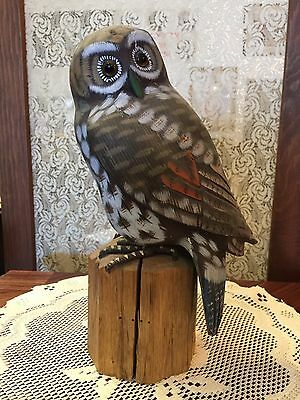"Vintage Wood Hand Carved & Painted Owl Bird Figure on post 9"" Glass Eyes"