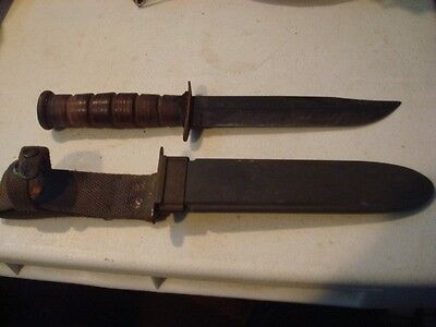 Original Vintage WWII. USN NAVY MARK 2 Knife W/Scabbard