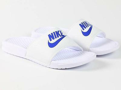 Nike Benassi JDI Men's Slide 343880-102 White Varsity Royal Logo Free Shipping