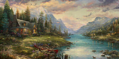A Father's Perfect Day Thomas Kinkade Studios LE 895 Paper 12x24 Cabin Fathers