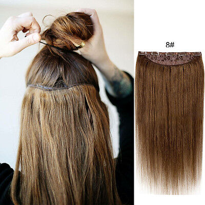100% Remy Hairpiece Straight One Piece Clip In Real Human Hair Extensions 18inch