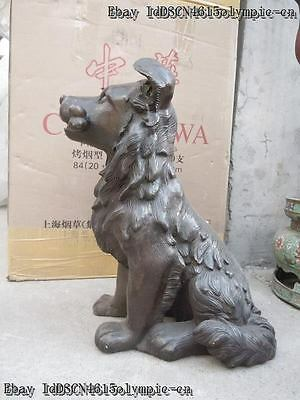 15 Inch Chinese bronze carved beautiful fine Dog Sculpture statue