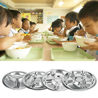 3/4/5/6 Divider Stainless Steel Plate Compartment Extra Deep Food Serving Dinner
