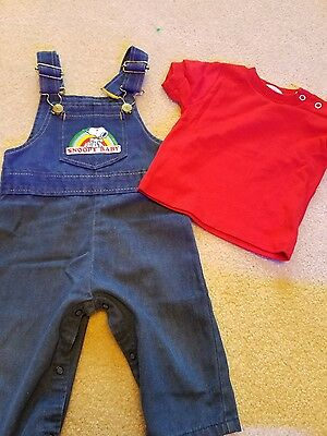Vintage snoopy-baby boy 2 piece outfit. Overalls and shirt. Size 12 months.